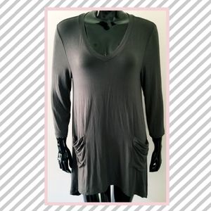 LOGO Lori Goldstein Medium Gray Tunic Top Blouse